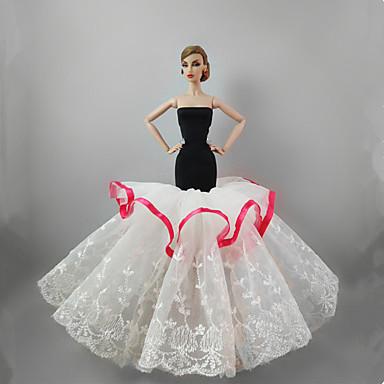 שמלות שמלה ל ברבי דול לבן שילוב כותנה / פשתן / תחרה שמלה ל הילדה של בובת צעצוע / פרחוני