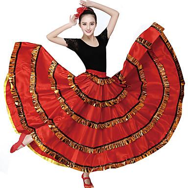 ריקודים סלוניים חלקים תחתונים בגדי ריקוד נשים הדרכה פוליאסטר סרט גומי דמוי גל ללא שרוולים נפול חצאיות