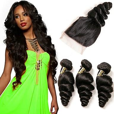 3 חבילות עם סגירה שיער ברזיאלי גלי משוחרר שיער אנושי טווה שיער אדם שוזרת שיער אנושי תוספות שיער אדם