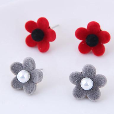 בגדי ריקוד נשים עגילים צמודים - פרחוניים / בוטניים, פרח אופנתי אפור / אדום עבור יומי