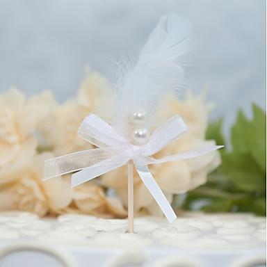 קישוטים לעוגה פנטזיה חתונה עבודת יד דמוי פנינה נוצות חתונה Party עם נוצות דמוי פנינה רצועות 1 OPP