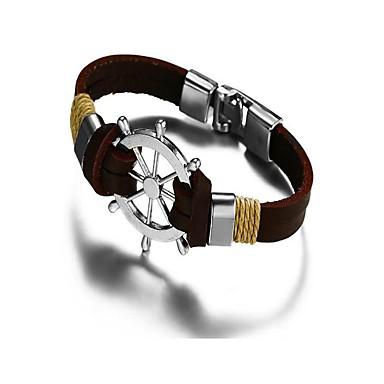 baratos Bangle-Homens Bracelete Pulseiras de couro Geométrico Vintage escocês Aço Inoxidável Pulseira de jóias Preto / Marron Para Presente Diário / Pele
