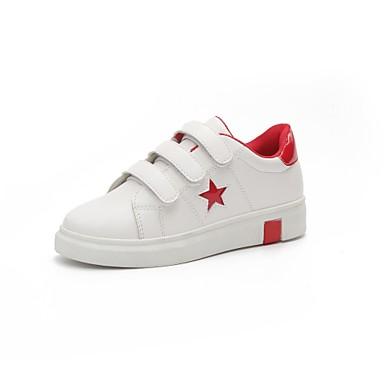 Mujer Zapatos PU Primavera verano Confort Zapatillas de deporte Tacón Plano Negro / Rojo aIPFZE