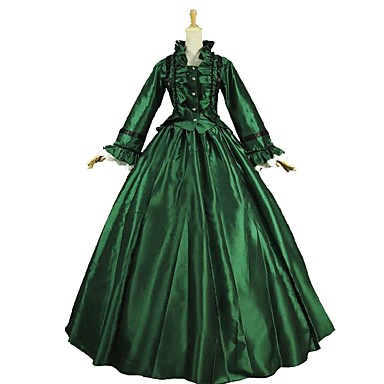 Vintage Rokoko Kostium Damskie Stroje Zielony i czarny Postarzane Cosplay Satyna Długi rękaw Pompiasty / Balonowy