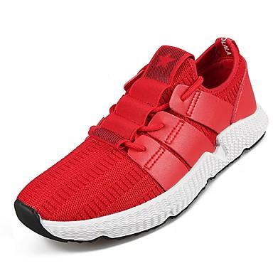 בגדי ריקוד גברים PU אביב / סתיו נוחות נעלי אתלטיקה ריצה שחור / אדום