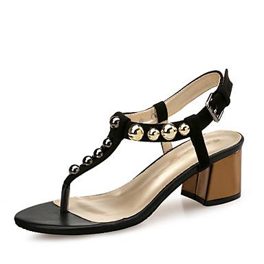 Mujer Zapatos Poliéster Verano Tira en el Tobillo Sandalias Paseo Tacón Cuadrado Puntera abierta Cuentas Negro / Beige VqvUe