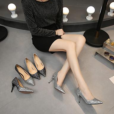 Automne Paillette Femme Aiguille Chaussures Talon Talons 06570012 Basique Escarpin Printemps pointu Paillette Chaussures à Bout Brillante Noir qgIgP5wW1