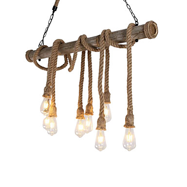 8-hode 100cm vintage hamp tau med bambus anheng lys loft kreative stue restaurant klær butikk lampe