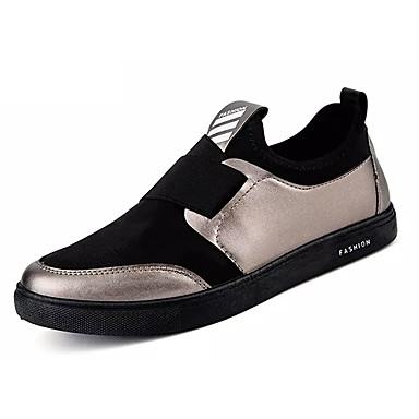 בגדי ריקוד גברים מוקסין PU אביב / סתיו נוחות נעליים ללא שרוכים שחור / כסף