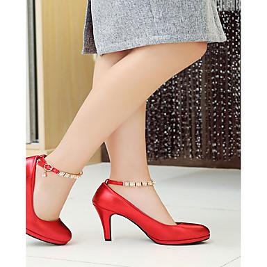 Confort Talons Bout Aiguille à Chaussures Nouveauté Talon Chaussures Similicuir Blanc Automne Printemps Noir 06599700 rond Femme Strass IHCRgqwI