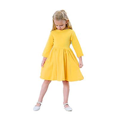 שמלה כותנה אקריליק אביב קיץ שרוול ארוך יומי ליציאה אחיד הילדה של פשוט וינטאג' כחול נייבי צהוב