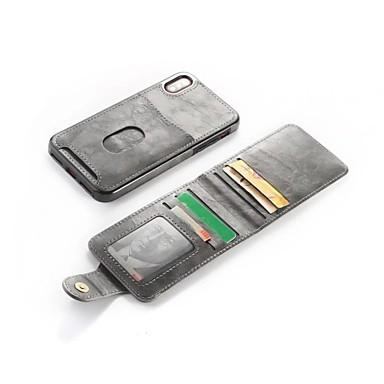 מגן עבור Apple iPhone X / iPhone 8 Plus ארנק / מחזיק כרטיסים / עם מעמד כיסוי אחורי אחיד קשיח עור PU ל iPhone X / iPhone 8 Plus / iPhone 8