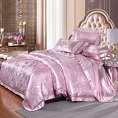 Pussilakanasetti setit Ylellisyys Silk / Cotton Blend Jakardi 4 osainenBedding Sets / >800