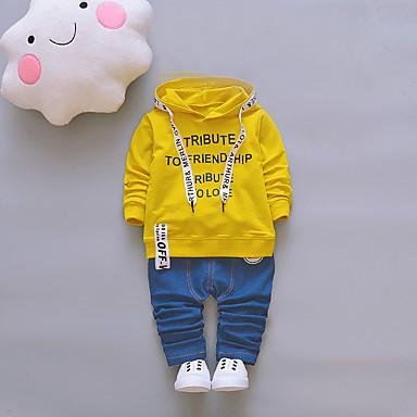 סט של בגדים כותנה אביב סתיו שרוול ארוך יומי ליציאה אחיד דפוס סרוג בנים חמוד שחור כתום צהוב