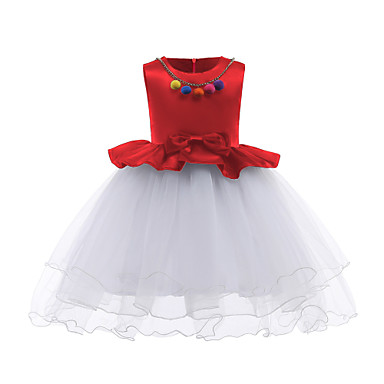 Dzieci Dla dziewczynek Aktywny Wyjściowe Jendolity kolor Kokarda Bez rękawów Sukienka / Bawełna / Urocza