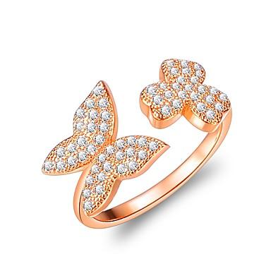Χαμηλού Κόστους Μοδάτο Δαχτυλίδι-Γυναικεία Cubic Zirconia Δέσε Ring Rose Gold Ζιρκονίτης Λουλούδι Φιογκάκι Κλασσικό Μοδάτο Δαχτυλίδι Κοσμήματα Χρυσό Τριανταφυλλί Για Γάμου Βραδινό Πάρτυ Ρυθμιζόμενο