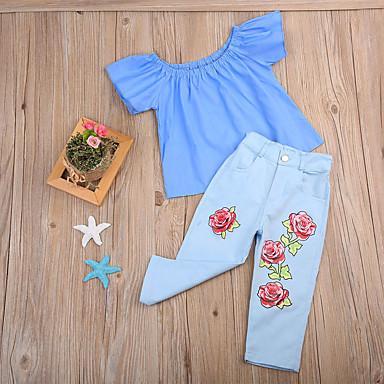 baratos Conjuntos para Meninas-Bébé Para Meninas Moda de Rua Temática Asiática Feriado Para Noite Sólido Floral Estilo Clássico Ganga Botão Manga Curta Padrão Padrão Conjunto Azul