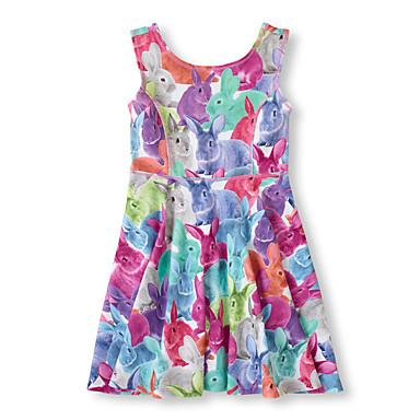 Brzdąc Dla dziewczynek Aktywny Codzienny / Wyjściowe Nadruk Bez rękawów Bawełna / Poliester Sukienka Fioletowy 100 / Śłodkie