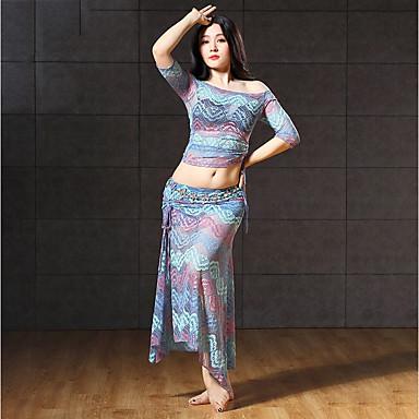 ריקוד בטן תלבושות בגדי ריקוד נשים הצגה ספנדקס תחרה שסע סגנון רצועות תחבושות חצי שרוול נפול חצאיות עליון