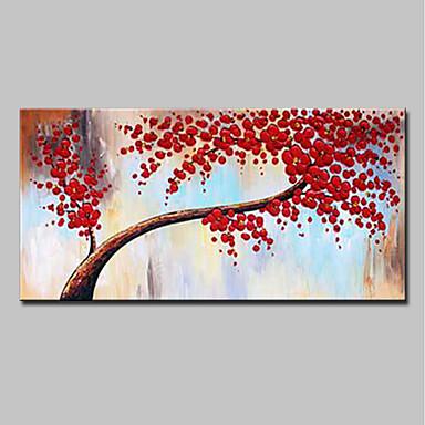 ציור שמן צבוע-Hang מצויר ביד - מופשט פרחוני / בוטני מודרני בַּד