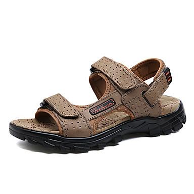 בגדי ריקוד גברים נעלי עור עור נאפה Leather קיץ ספורטיבי / יום יומי סנדלים הליכה / נעלי ספורט מים ללא החלקה שחור / חום כהה / חאקי