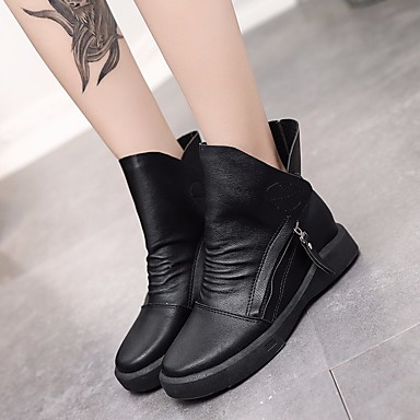1ff7b1ec633c Femme Chaussures Polyuréthane Automne Hiver boîtes de Combat Confort Bottes  Talon Bas Bottine   Demi Botte pour Décontracté Noir Marron de 6593491 2019  à ...