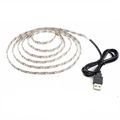 billige LED Strip Lamper-zdm 1pc vanntett 1m 60 x 2835 smd leds usb drevet fleksibel led light strips varm hvit kald hvit dekorativ 5 v tv bakgrunnslys