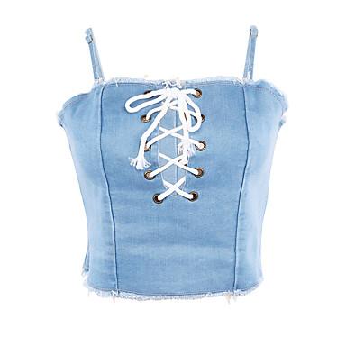 abordables Lencería de Mujer-Todo Sin Soporte Other Sujetador Un Color Azul Piscina Blanco