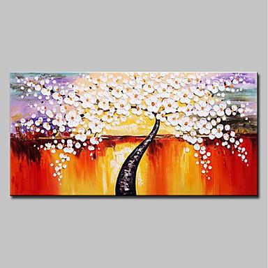 ציור שמן צבוע-Hang מצויר ביד - מופשט / פרחוני / בוטני מודרני כלול מסגרת פנימית / בד מתוח