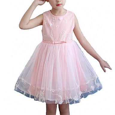 שמלה כותנה פוליאסטר אביב קיץ ללא שרוולים יומי ליציאה אחיד פרחוני הילדה של חמוד פעיל אודם ורוד מסמיק