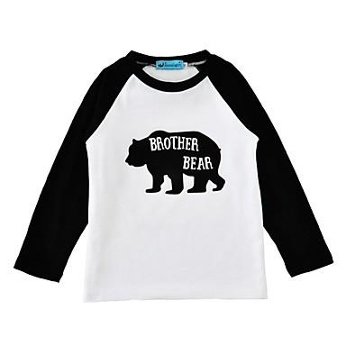 baratos Blusas para Meninas-Bébé Unisexo Activo Diário Feriado Animal Fashion Estampado Animal Manga Longa Padrão Algodão Camiseta Preto