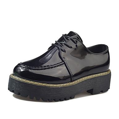 Mulheres Sapatos Couro Ecológico Primavera Conforto Sandálias Creepers Dedo Aberto Tachas para Casual Preto Vinho
