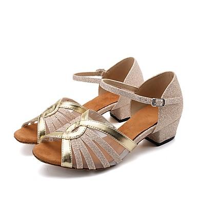 baratos Sapatos de Samba-Mulheres Sapatos de Dança Glitter / Sintético / Couro Sintético Sapatos de Dança Latina Sandália Salto Robusto Personalizável Dourado / Prata / Preto e Prateado / Profissional / EU39