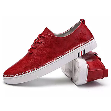 בגדי ריקוד גברים אור סוליות PU אביב / סתיו נעלי ספורט שחור / אדום / חאקי