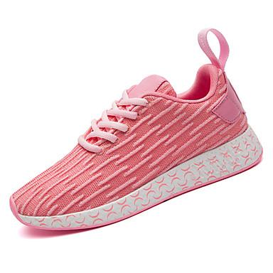 בגדי ריקוד נשים נעליים רשת נושמת אביב / סתיו נוחות נעלי אתלטיקה הליכה שטוח בוהן עגולה אדום / כחול / ורוד