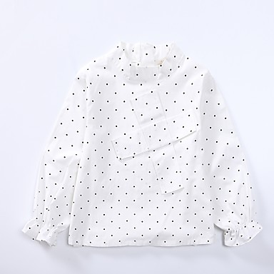 cheap Girls' Tops-Kids Girls' Simple Daily Polka Dot Print Lace Long Sleeve Regular Cotton Shirt White / Cute