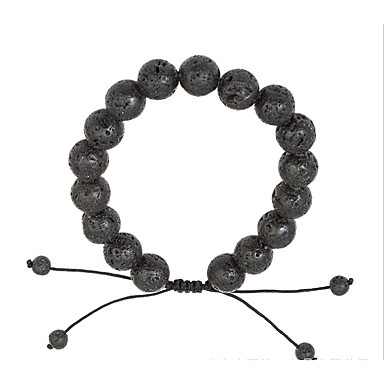 voordelige Herensieraden-Heren Dames Vulkanische steen Armbanden met ketting en sluiting Eenvoudig Natuur Modieus Rips Armband sieraden Zwart Voor Lahja Dagelijks