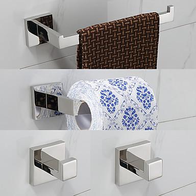 Set d'Accessoires de Salle de Bain Moderne Acier inoxydable 4pcs - Bain d'hôtel barre de tour Patère Porte-papier toilette