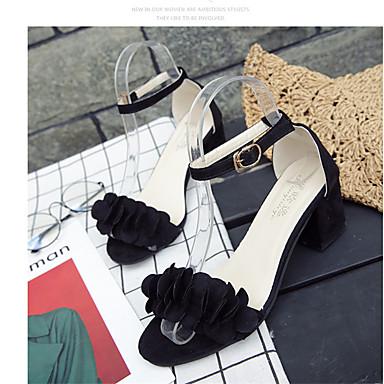 Mulheres Sapatos Couro Ecológico Primavera / Verão Sandálias Caminhada Salto Robusto Dedo Aberto Presilha Preto / Cinzento / Rosa claro
