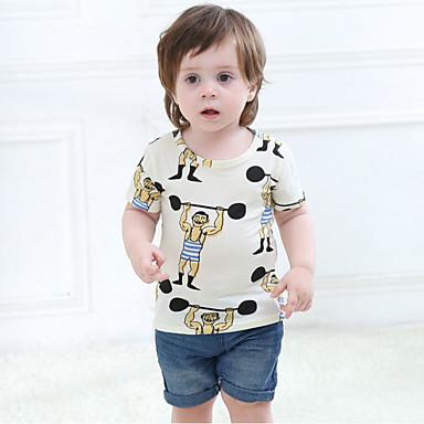 baratos Camisas para Meninos-Bébé Para Meninos Casual Diário Geométrica Básico Manga Curta Padrão Algodão Camiseta Branco