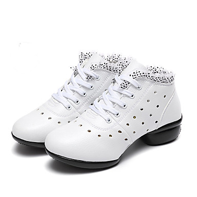 Women's Dance Sneakers Leather Sneaker Stitching Lace / Sided Hollow Out Flat Heel Customizable Dance Shoes White