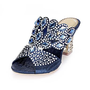 cheap Women's Sandals-Women's Polyurethane Spring / Summer Fashion Boots Sandals Chunky Heel Open Toe Rhinestone / Crystal / Sparkling Glitter Dark Blue / Red / Green / Buckle / Party & Evening