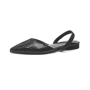 Női Cipő PU Nyár Kényelmes Papucsok & Balerinacipők Lapos Kerek orrú mert Fehér Ezüst
