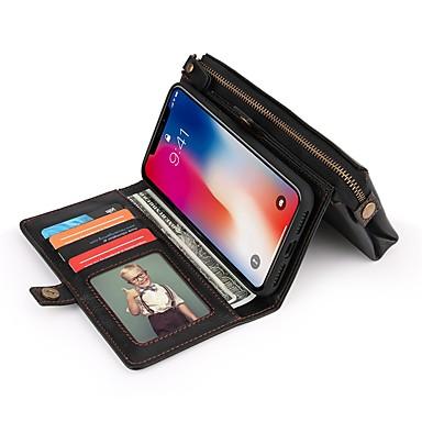 מגן עבור Apple iPhone X ארנק / מחזיק כרטיסים / עמיד בזעזועים כיסוי מלא צבע אחיד קשיח עור PU ל iPhone X