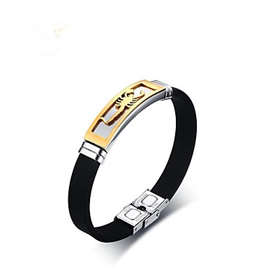 baratos Bangle-Homens Bracelete Animal Aço Inoxidável Pulseira de jóias Preto Para Presente Diário