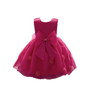 Χαμηλού Κόστους Φορέματα για κορίτσια-Νήπιο Κοριτσίστικα Βίντατζ Βασικό Πάρτι Καθημερινά Μονόχρωμο Φλοράλ Στάμπα Λουλούδι Πεπαλαιωμένο Στυλ Κλασσικό Αμάνικο Βαμβάκι Ακρυλικό Πολυεστέρας Φόρεμα Ανθισμένο Ροζ / Χαριτωμένο / Κεντητό