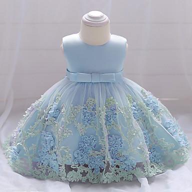 Χαμηλού Κόστους Φορέματα για κορίτσια-Βρέφος Κοριτσίστικα Ενεργό Πάρτι Εξόδου Φλοράλ Δαντέλα Πολυεπίπεδο Στάμπα Αμάνικο Βαμβάκι Πολυεστέρας Φόρεμα Ανθισμένο Ροζ