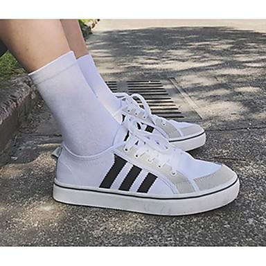 Unisex Komfortowe buty Płótno Wiosna / Jesień Adidasy czarny / biały / Biały / Niebieski / Biały / Srebrny
