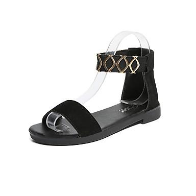 Damen Schuhe PU Sommer Komfort Sandalen für Draussen Weiß Schwarz Mandelfarben