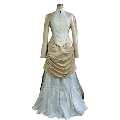 Downton Abbey Rokoko Victoriansk 18th Century Klänningar Outfits Dam Kostym Beige Vintage Cosplay Långärmad Golvlång Plusstorlekar Anpassad / Topp